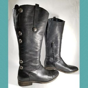 Arturo Chiang Black Leather Knee High Riding Boots